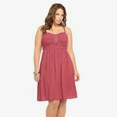 bf8f7815e6f0 NWT Torrid Challis Dress Red w/ White Dot Print- Smocked Back, Adjustable  Straps torrid Dresses