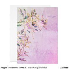 Pepper Tree Leaves Invite Announcement Card