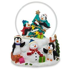 Penguins Decorating Christmas Tree with Ornaments Snow Globe