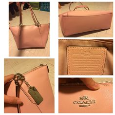 "LIKE NEW blush pink coach purse used once, in brand new condition. authentic blush pink ava tote. height: 9.5"" depth 5"" width 12"" bottom and 16.5"" top, strap drop 8"". interior zip and slip pockets, top zip closure. cheaper on merc Coach Bags Totes"