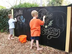 Make an outdoor chalkboard and other great backyard DIY ideas. Keep the mess of the chalk dust outside and use the rain to clean off the board - genius!