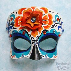 Calavera Leather Mask With Marigold Flower And by beadmask on Etsy