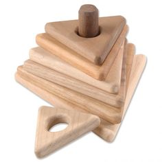 Wooden Triangle Stacker - First wooden stacking toy