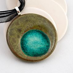 Ceramic Pendant with Recycled Glass - Large Circle Necklace in Fossil   http://www.etsy.com/listing/62378472/ceramic-pendant-with-recycled-glass
