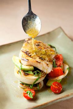 Hot and Hot's Simple Grilled Fish w/ Tomato, Avocado, & Grilled Onions {Garden and Gun}