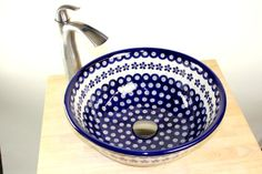 Polish pottery - Flowering Peacock Vessel Sink. Perfect for a half bath off the kitchen.