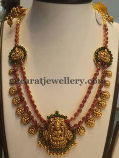 Pota Rubies 2 Rows Laxmi Necklace | Jewellery Designs