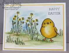 Stampin' Up! Honeycomb Happiness stamp set and In the Meadow stamp set. watercolored Easter card. with Easter chick. Handmade Easter card by Lisa Young, Add Ink and Stamp