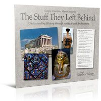 The Stuff They Left Behind is a new set of portfolios from Simply Charlotte Mason. Each pack includes sixteen large, full-color photographs of important artifacts and architecture from an era in history, plus a handy booklet of background information and discussion questions to encourage your students to look closely and carefully.