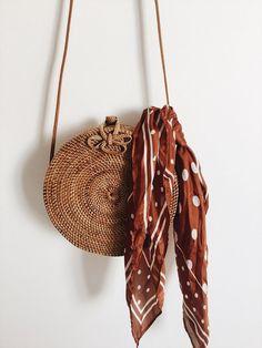 straw shoulder bag with a polka dot bandana. Visit Daily Dress Me at dailydressm. Cheap Handbags, Luxury Handbags, Purses And Handbags, Popular Handbags, Luxury Purses, Fabric Handbags, Pink Handbags, Handbags Online, Latest Handbags