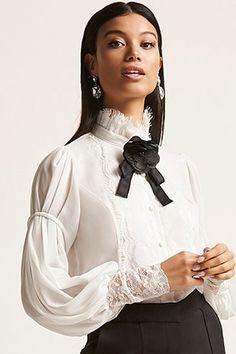 Victorian-Inspired Sheer High Neck Shirt