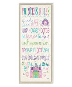 Look what I found on #zulily! White 'Princess Rules' Rectangle Wall Art by Stupell Industries #zulilyfinds