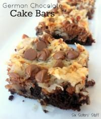 German Chocolate Cake Bars Recipe from the Six Sisters on MyRecipeMagic.com are so delicious and gooey good! #bars #german #chocolate