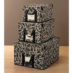 Baroque Taupe Fabric Storage Boxes