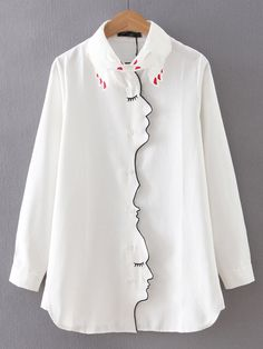 chemisier brodé col design -blanc -French SheIn(Sheinside)