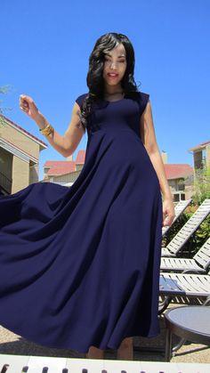 Navy Blue Ohlson Maxi Dress by Dimiloc on Etsy, $135.00
