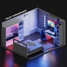 Gamer Bedroom, Bedroom Setup, Room Design Bedroom, Bedroom Layouts, Room Ideas Bedroom, Computer Gaming Room, Gaming Room Setup, Small Game Rooms, Video Game Rooms