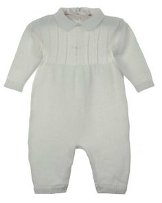 The Boss's Christening outfit! Found it at Grammie's Attic after an intense search. NEW Imagewear White Cotton Knit Romper with Cross Embroidery and Matching Hat $65.00