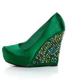 not really into the rhinestones :/ Privileged Gorgeous Green Rhinestone Platform Wedges