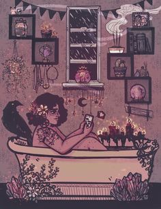 """gin-draws: """" ✨witches need self-care too a colored version of my piece from the 'Bruja Cotidiana' zine- you can pick up a copy of all its witchy goodness at SPX! """""""