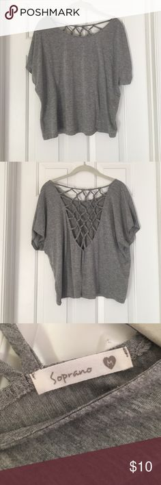 Grey Top w Back Detail Grey Soprano top with open-back details. Washed and worn, but in great condition💕 Soprano Tops Tees - Short Sleeve