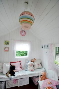 Ready to Build a Playhouse on Stilts? Inside Playhouse, Playhouse Decor, Playhouse Interior, Girls Playhouse, Backyard Playhouse, Build A Playhouse, Playhouse Ideas, Closet Playhouse, Cubby Houses