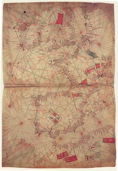 Map of the Atlantic, including Spain and the British Isles, comprising the first sheet of the atlas attributed to Genoese cartographer Pietro Vesconte, and tentatively dated 1325. Contained in a manuscript of Marino Sanuto Liber Secretorum Fidelium Crucis (c.1325) held by the British Library in London, UK.