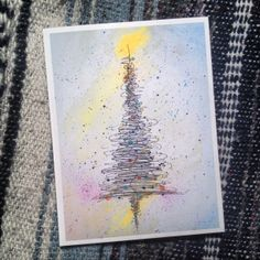 """Watercolor and ink christmas tree card by Noel Young. 5""""x6"""" blank inside. www.etsy.com/shop/brushmeetscanvas"""