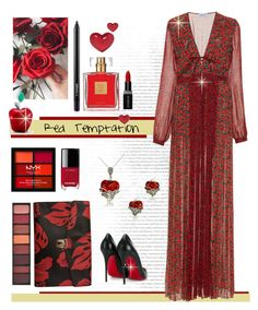 """Red​ ​Temptation"" by sara-cdth ❤ liked on Polyvore featuring BillyTheTree, NYX, Smashbox, Avon, Chanel, Raquel Diniz, Lord & Taylor, Christian Louboutin, Prada and Alison Lou"