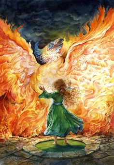 """Book cover illustration by Omar Rayyan for the book """"Phoenix Rising"""". Mythological Creatures, Mythical Creatures, Fantasy Creatures, Fantasy World, Fantasy Art, Omar Rayyan, Phoenix Rising, Phoenix Art, Phoenix Wings"""