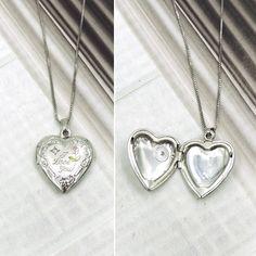 I LOVE YOU STERLING SILVER DIAMOND HEART LOCKET & CHAIN