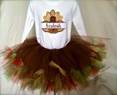 Turkey Tutu Set. Custom made and both items hand made by Tutu Cute N Sweet and Fibberjibits Designs. You can find them on facebook and Etsy.
