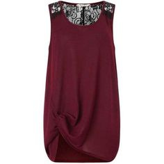Burgundy Lace Back Knot Cami ($80) ❤ liked on Polyvore featuring intimates, camis and miss selfridge