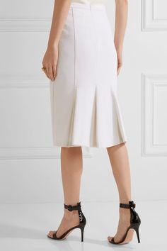 Max Mara - Pleated Stretch-wool Midi Skirt - Ivory - UK