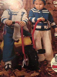 Knitting Pattern DK Baby Children Boy or Girls Cardigan Jumper Trousers Hat Scarf 12-18 Mths Vintage PDF by CraftybyLulu on Etsy