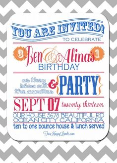 Joint/Combined Toddler Birthday Party Invitation #birthdayinvite | Two Happy Lambs