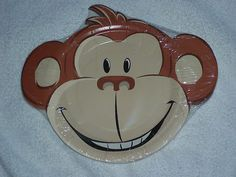 Monkey Face Plates, Birthday Party, Baby Shower, Zoo, Jungle Theme, 1st Bday 12p