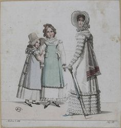 These two girls wear pinafores or aprons (tabliers). 1818