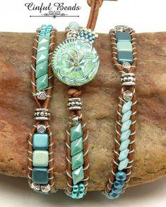 BOHO LEATHER WRAP Bracelet-Beaded Leather Wrap-Hawaiian