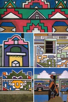 These wallpaintings are designed by the women of the Ndebele peoples in South Africa. Images via Ndebele: The Art of an African Tribe Arte Elemental, South African Art, Africa Art, West Africa, African Design, Ethnic Design, African Culture, Elementary Art, Urban Art