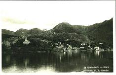 Sogn og Fjordane fylke Gulen kommune Eivindvik oversikt fra fjorden med bl.a. kirken Utg P.R.Sandal. Postgått 1933