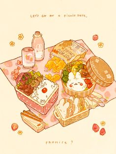Cute Food Drawings, Kawaii Drawings, Cute Food Art, Cute Art, Stickers, Food Sketch, Picnic Date, Food Cartoon, Dibujos Cute