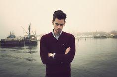 mens fashion, mens wear, maroon, sweater, hair, photography