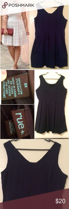 New without tags rue21+ navy blue dress 3x Size 3x! Rue 21 brand! Washed but never worn! I bought this for engagement pics and went with a different outfit. The modeled photo is a dress with the same cut. Fitted bodice with pleated skirt zips in back! Make me an offer! Rue21 Dresses
