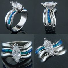 Custom white gold mounting with flush opal inlay and a marquise cut diamond - shadow band is also custom formed  — at Green Lake Jewelry Works.