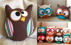 DIY Cute Owl Pillow - http://www.homedecoration-ideas.com/creative-home-decoration-ideas/diy-cute-owl-pillow.html