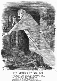 """""""The Nemesis of Neglect"""", 1888 Punch cartoon commenting on the Jack the Ripper murders by Sir John Tenniel"""
