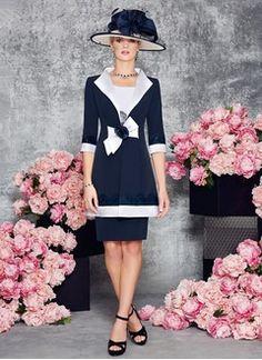 Etui-Linie U-Ausschnitt Knielang Charmeuse Kleid für die Brautmutter mit Spitze
