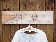 Cross Stitch Wood Wall Rack 5 Knobs. by stedi