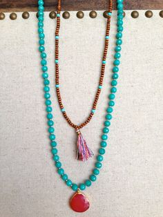 The Guadalupe-Wooden Beaded Necklace with Tassel Pendant, www.etsy.com/shop/txgoldengirl